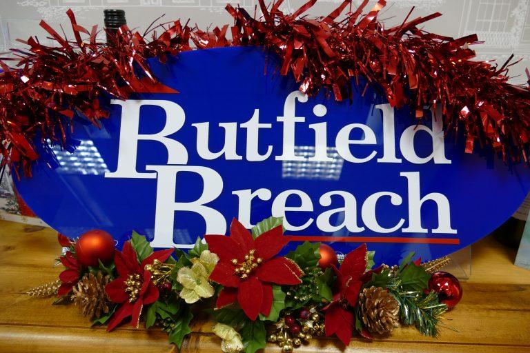 Christmas decorated logo Butfield Breach